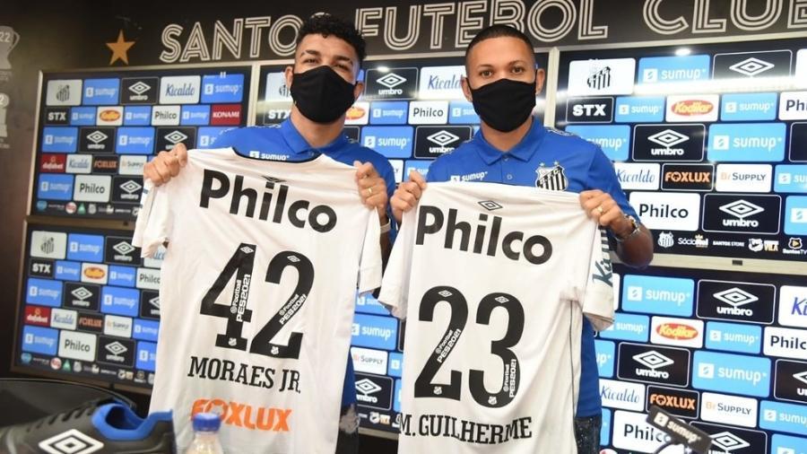 Lateral Moraes e o meia-atacante Marcos Guilherme são apresentados pelo Santos - Ivan Storti/Santos FC