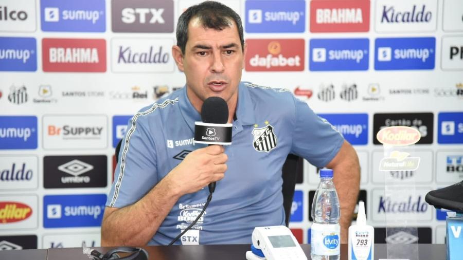 Fábio Carille responde perguntas em sua coletiva de apresentação como técnico do Santos - Reprodução/Santos