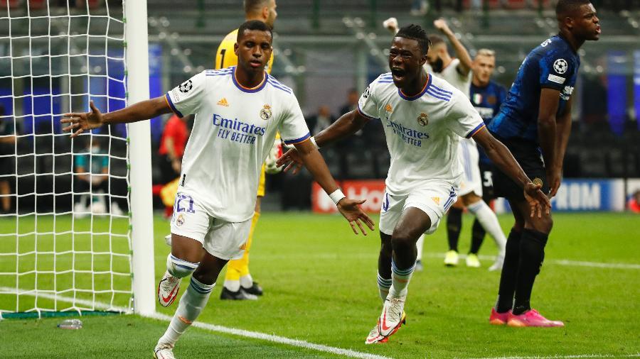 Rodrygo comemora gol do Real Madrid na vitória contra a Inter de Milão - REUTERS