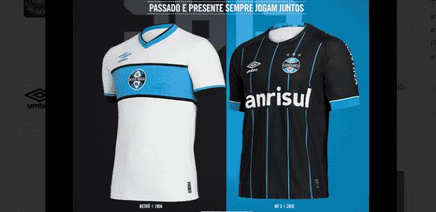 Grêmio lança camisa retrô e quarto uniforme com listras  invertidas ... 48266aa5b496c