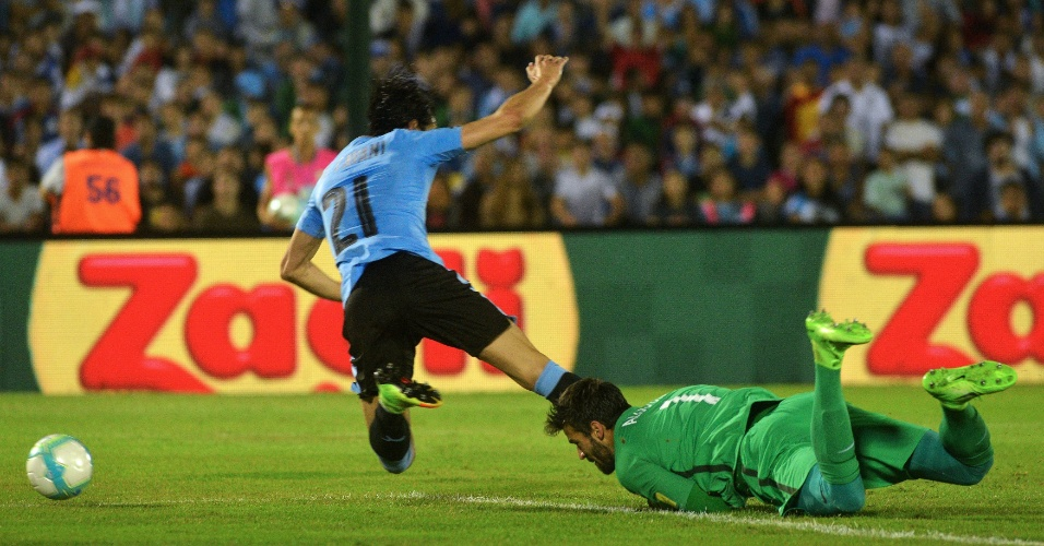 Alisson derruba Cavani na área após receber um passe errado de peito de Marcelo