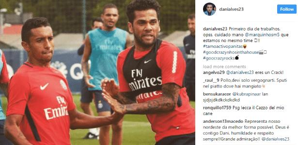 Daniel Alves brinca com Marquinhos em 1º treino no PSG
