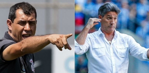Renato e Carille voltarão a medir forças diretamente neste Campeonato Brasileiro - Rodrigo Gazzanel/Corinthians e Lucas Uebel/Grêmio