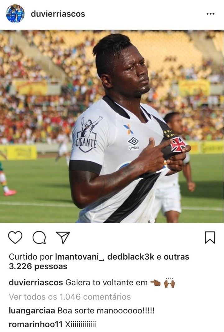 Riascos anuncia retorno ao Vasco