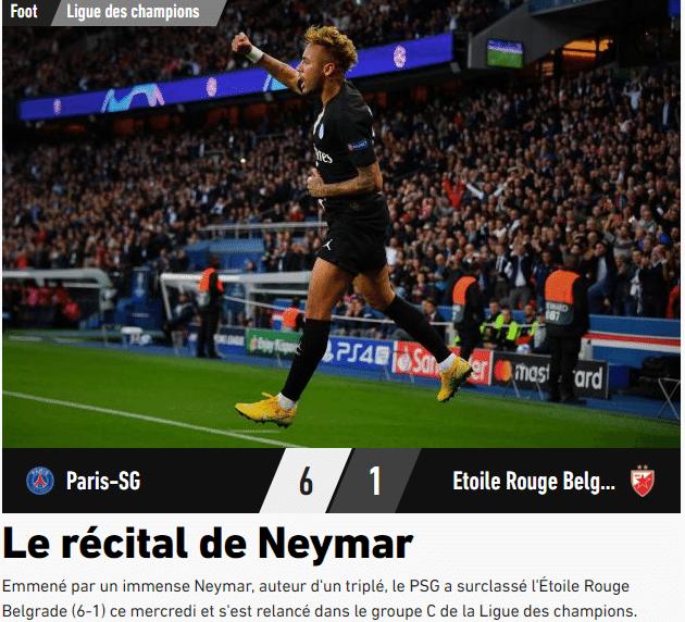 L'Equipe destaca Neymar após goleada do PSG sobre o Estrela Vermelha