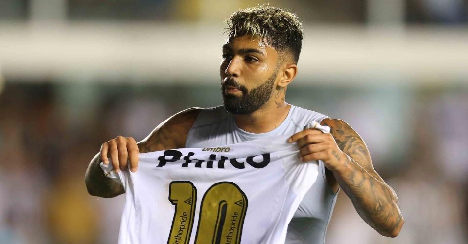 Gabriel comemora gol do Santos contra o Atlético-MG c3c8e2139e705