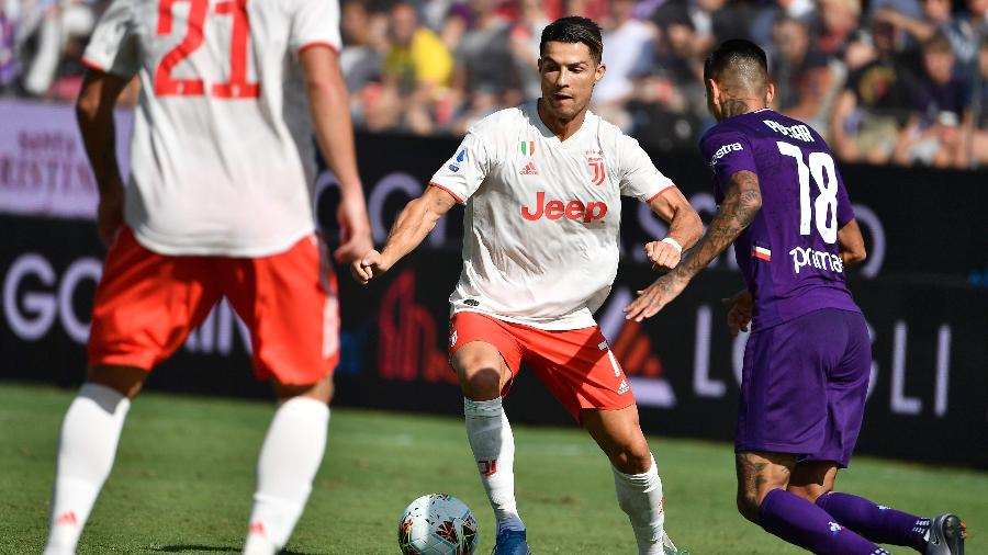 Cristiano Ronaldo na partida entre Juventus e Fiorentina - VINCENZO PINTO/AFP