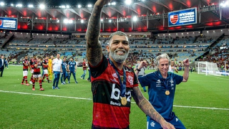 Jorge Jesus imita Gabigol em comemoração do Flamengo - Marcelo Cortes/Flamengo/Divulgação
