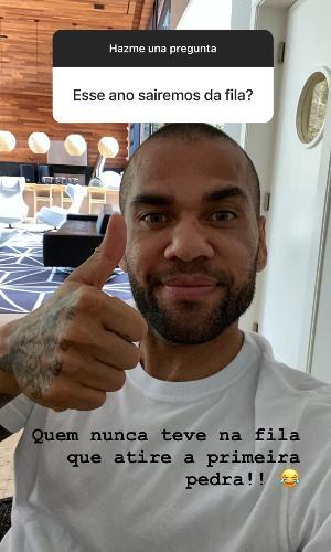 Daniel Alves responde perguntas no Instagram