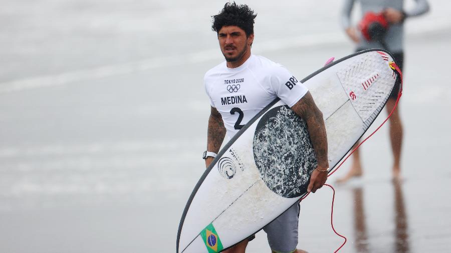Gabriel Medina durante as quartas de final das Olimpíadas - REUTERS/Lisi Niesner