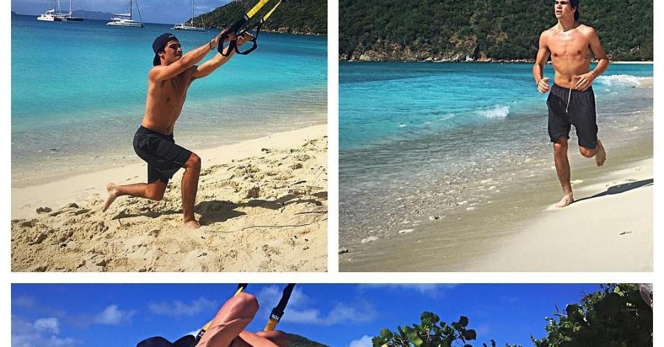 Estreante Lance Stroll optou por treinar na praia para se preparar fisicamente