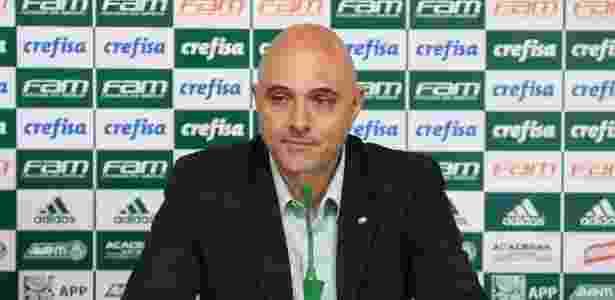 O presidente do Palmeiras, Mauricio Galiotte, dá entrevista - Cesar Greco/Fotoarena