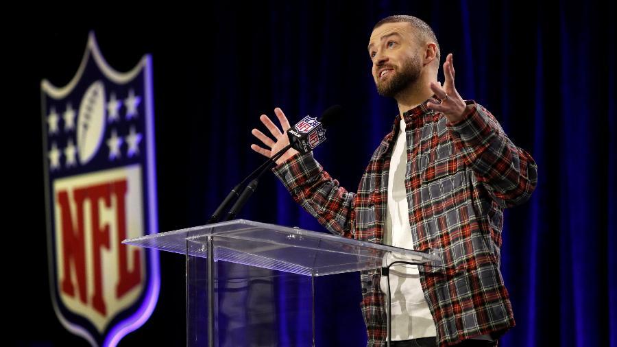 Justin Timberlake dá entrevista coletiva sobre sua apresentação no Super Bowl - Kevin Lamarque/Reuters