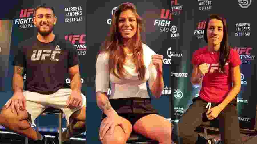 Augusto Sakai, Mayra Bueno e Marina Rodriguez, brasileiros recém-contratados pelo UFC - Ana Carolina Silva/UOL