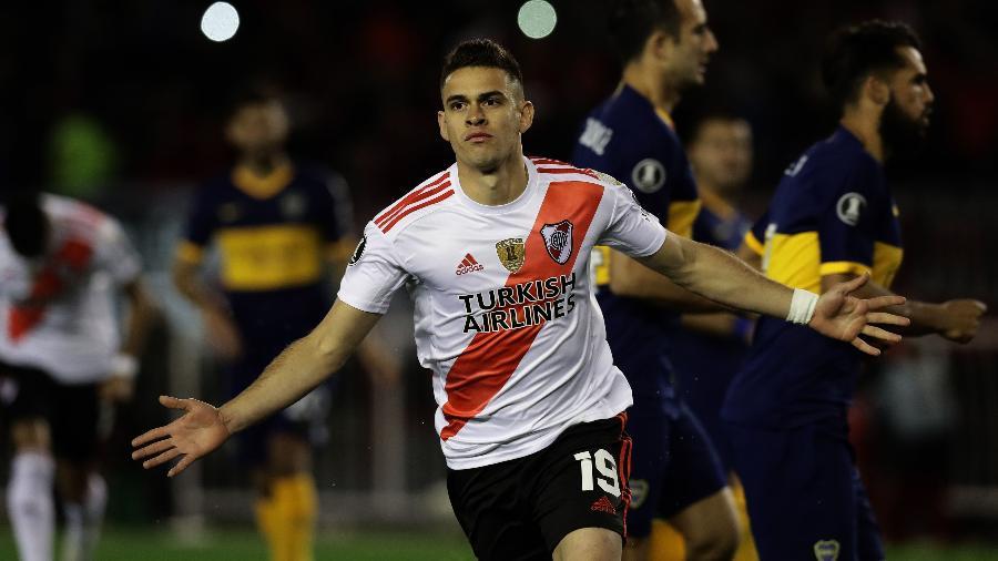 Borré comemora gol do River Plate contra o Boca Juniors - Alejandro PAGNI / AFP