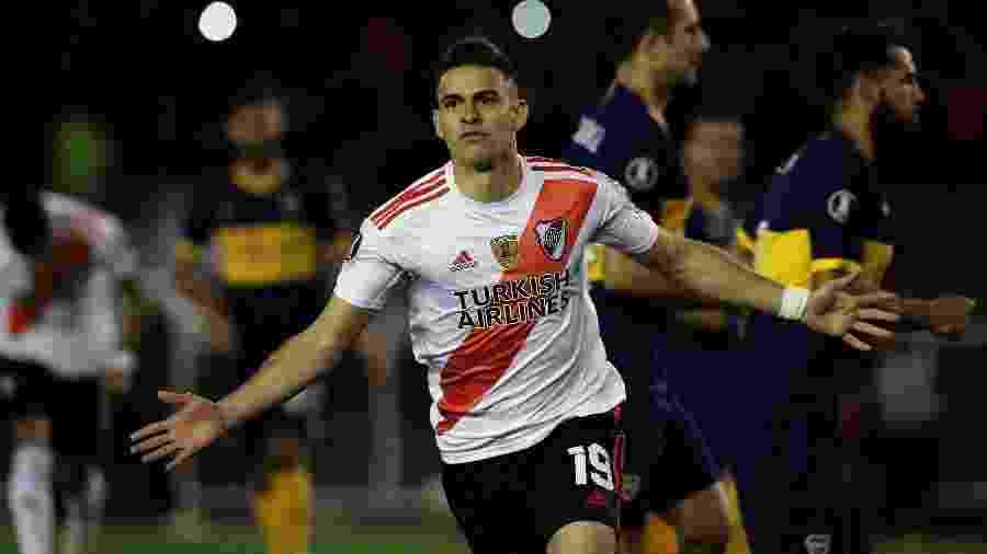 Borré comemora gol do River Plate contra o Boca Juniors pela semi da Libertadores - Alejandro PAGNI / AFP
