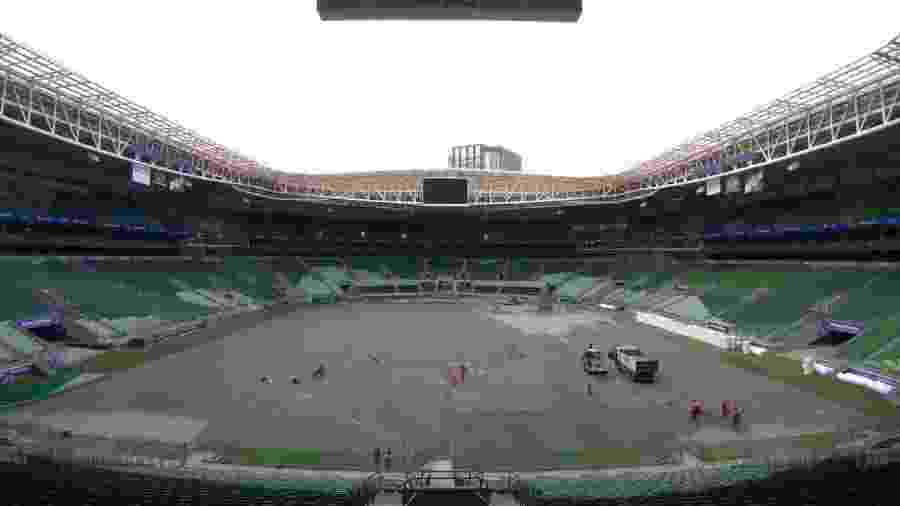 Allianz Parque passa por reforma para instalação de gramado sintético para a temporada 2020 - Divulgação