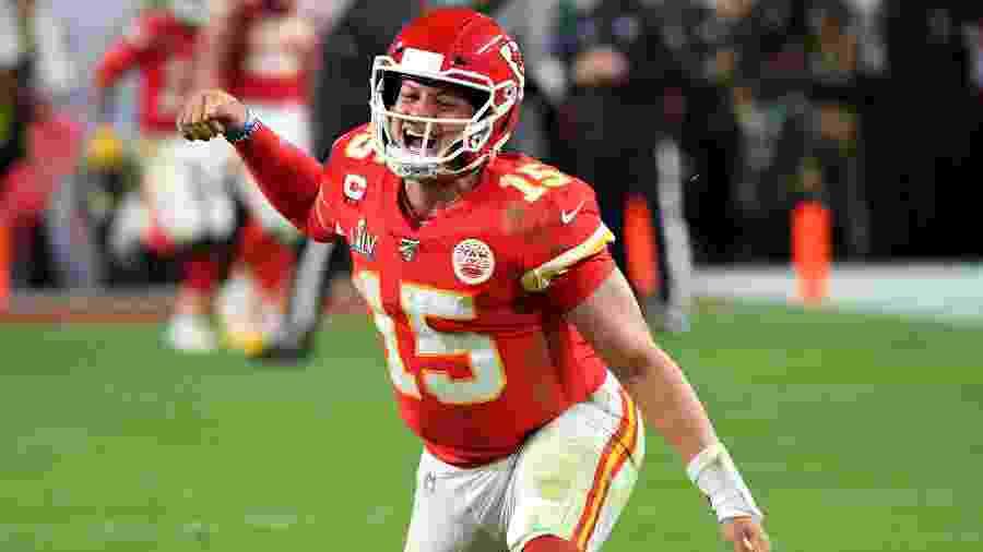 Patrick Mahomes comemora um touchdown do Kansas City Chiefs no Super Bowl - Robert Deutsch-USA TODAY
