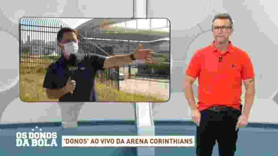 Neto interrompe entrevista ao vivo por corintiano estar sem máscara - Reprodução/Band