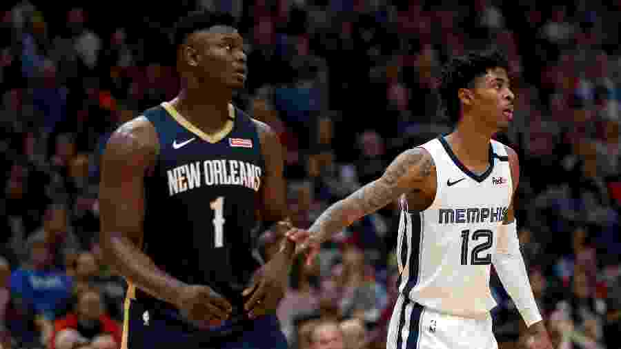 Zion Williamson, do New Orleans Pelicans e Ja Morant, do Memphis Grizzlies, lideram o time de novatos do ano da NBA - Sean Gardner/Getty Images