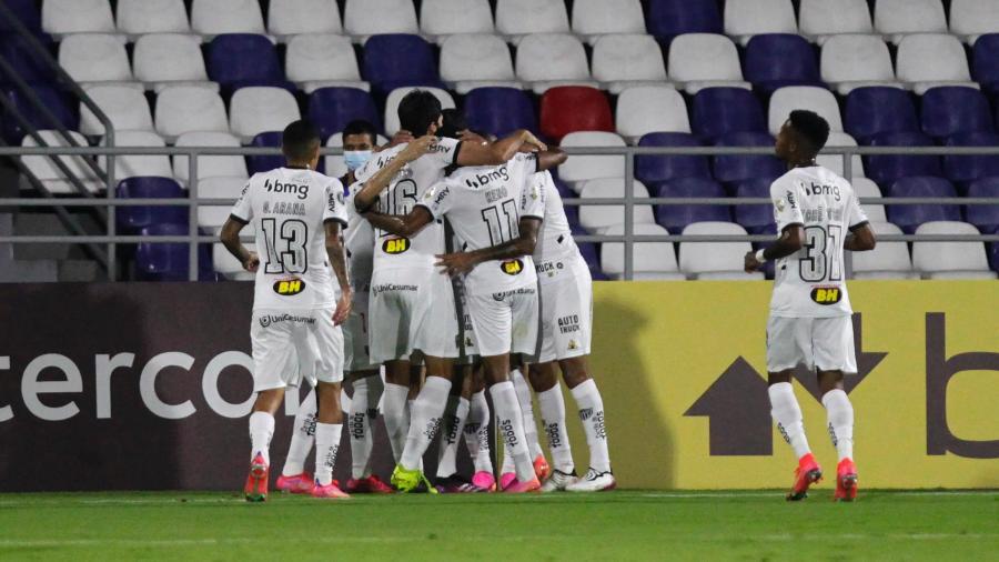 Jogadores do Atlético comemoram gol contra o America de Cali pela Libertadores - Ricardo Maldonado-Pool/Getty Images