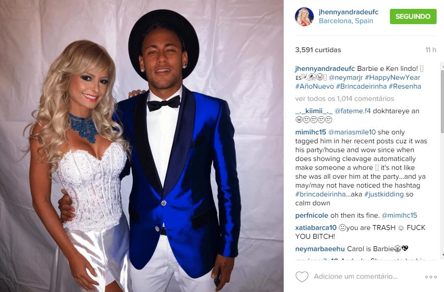 Jhenny Andrade posa com Neymar na virada de 2015 para 2016, na festa que o craque bancou para diversos convidados em Barcelona