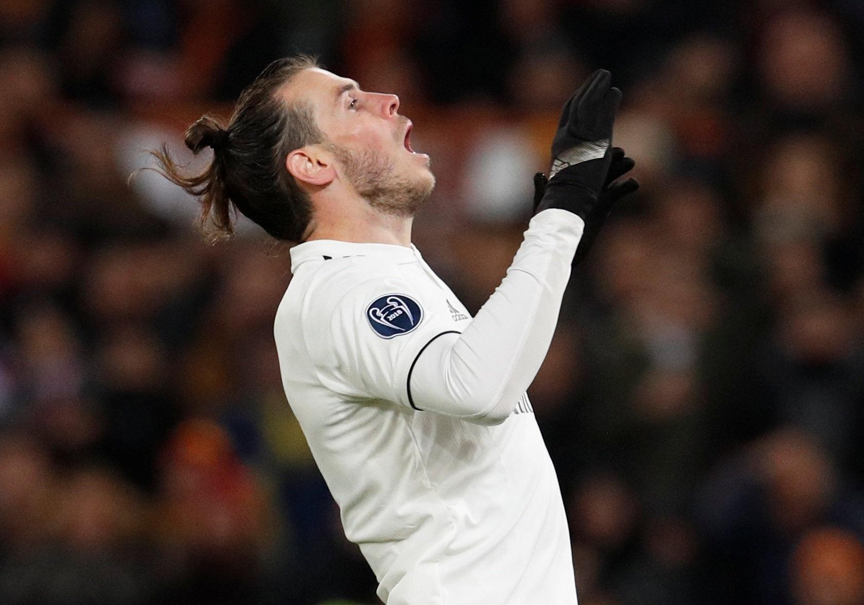 Gareth Bale comemora após marcar pelo Real Madrid contra a Roma