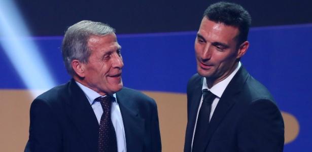 Óscar Tabárez e Lionel Scaloni no sorteio da Copa América, no Rio de Janeiro - Pilar Olivares/Reuters