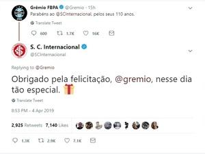 3e0ea5dfbdb84 Aniversário do Internacional tem troca de indiretas com o Grêmio no Twitter  - 04 04 2019 - UOL Esporte