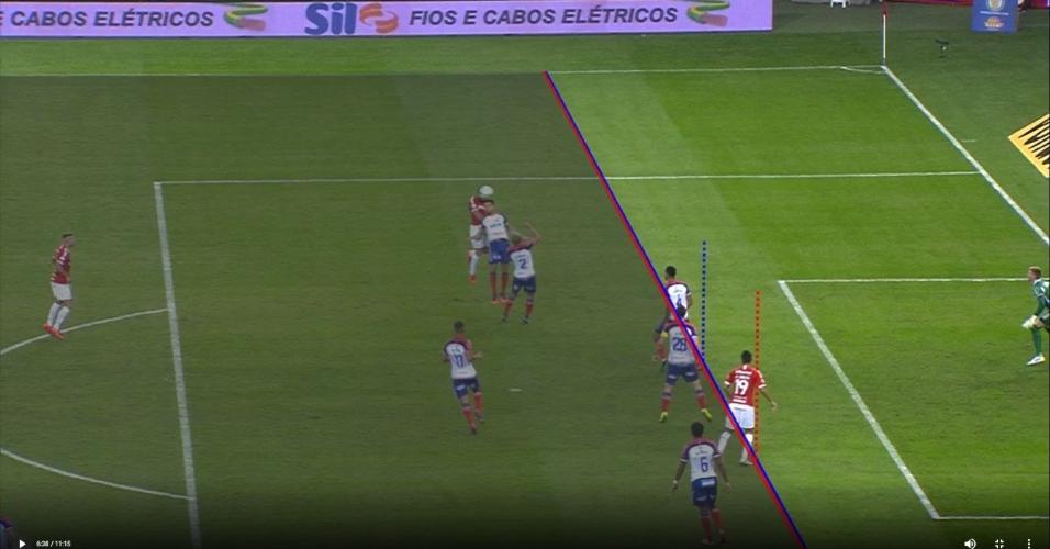 CBF divulga imagem para comprovar gol legal de Rodrigo Lindoso, do Internacional, contra o Bahia