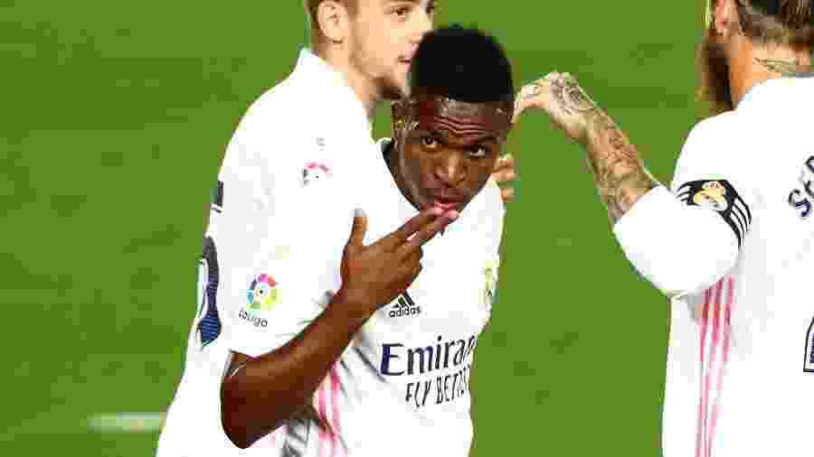 Vinicius Junior comemora gol do Real Madrid contra o Real Valladolid - REUTERS/Sergio Perez