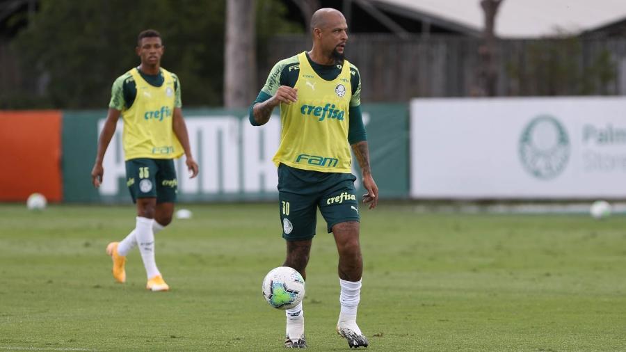 O jogador Felipe Melo, do Palmeiras, de volta ao campo depois de meses se recuperando de lesão - Cesar Greco/Palmeiras