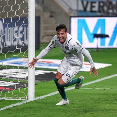 Gustavo Gómez comemora gol do Palmeiras contra o Grêmio na final da Copa do Brasil - Fernando Alves/AGIF