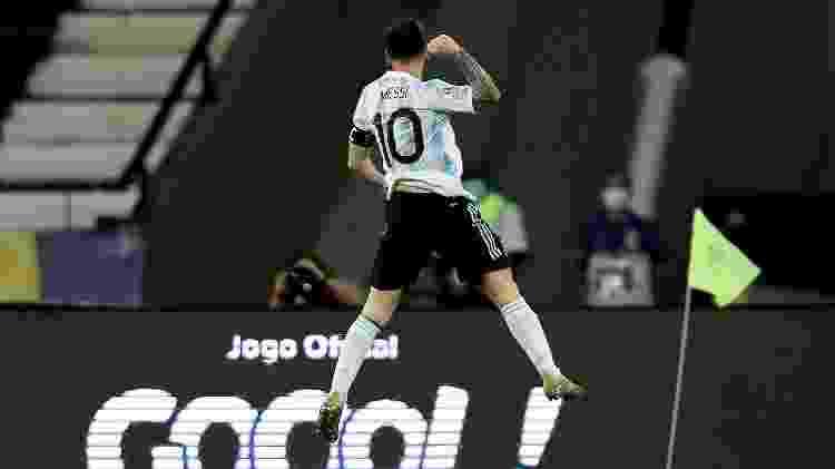 Messi comemora gol da Argentina contra o Chile na Copa América 2021 - Getty Images - Getty Images