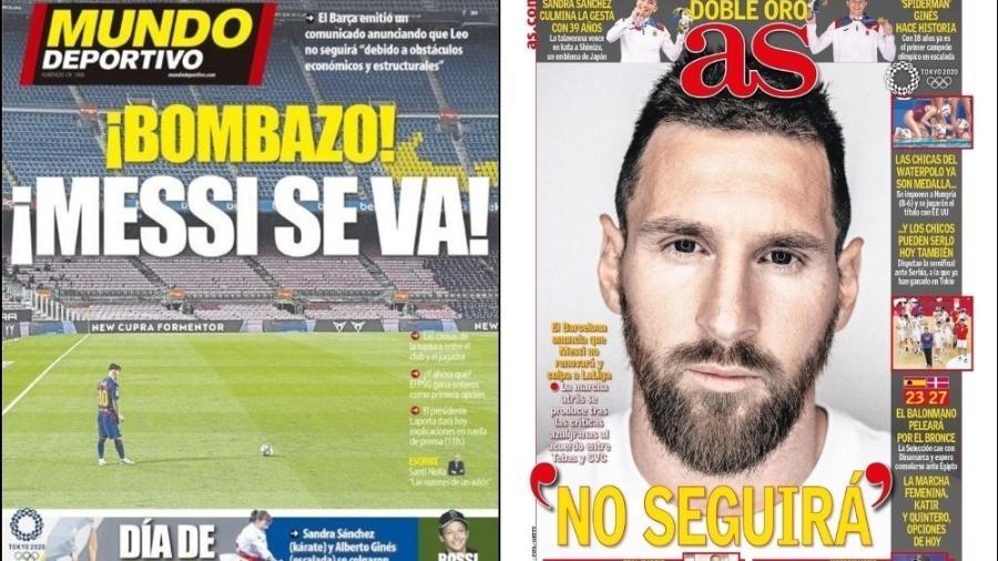 Capas do Mundo Deportivo e do As sobre a saída de Messi do Barcelona - Reprodução