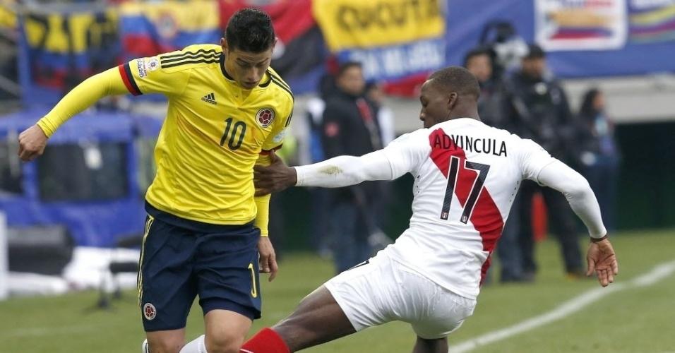 Craque da Colômbia, James Rodríguez dá caneta em jogador do Peru pela Copa América