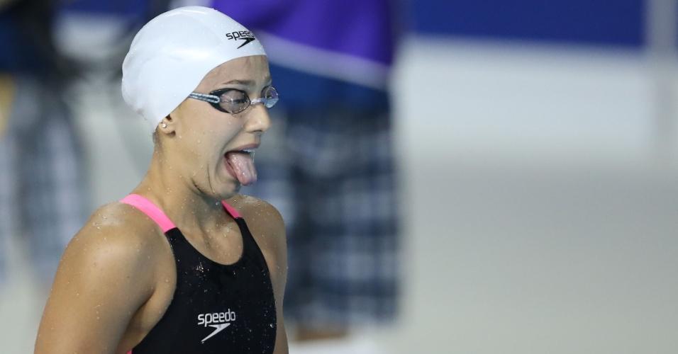 Larissa Oliveira se prepara para a prova de natação dos100m femininos dos Jogos Pan-americanos