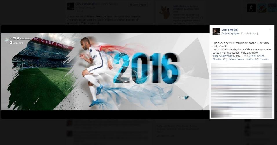 Lucas Moura desejou um ano cheio de alegrias aos fãs no Facebook