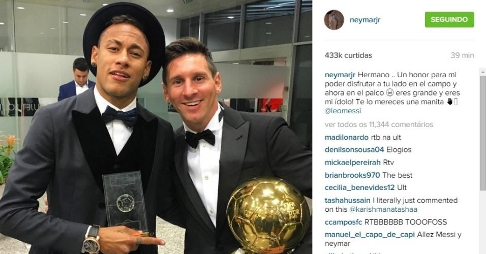 Neymar posta mensagem parabenizando Messi por seu prêmio Bola de Ouro