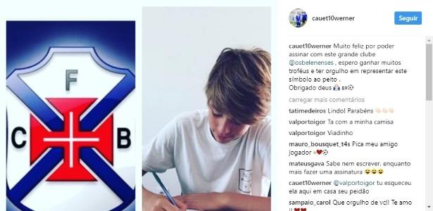 Filho de Júlio César, Cauet Werner assina contrato com o Belenenses - Reprodução/Instagram
