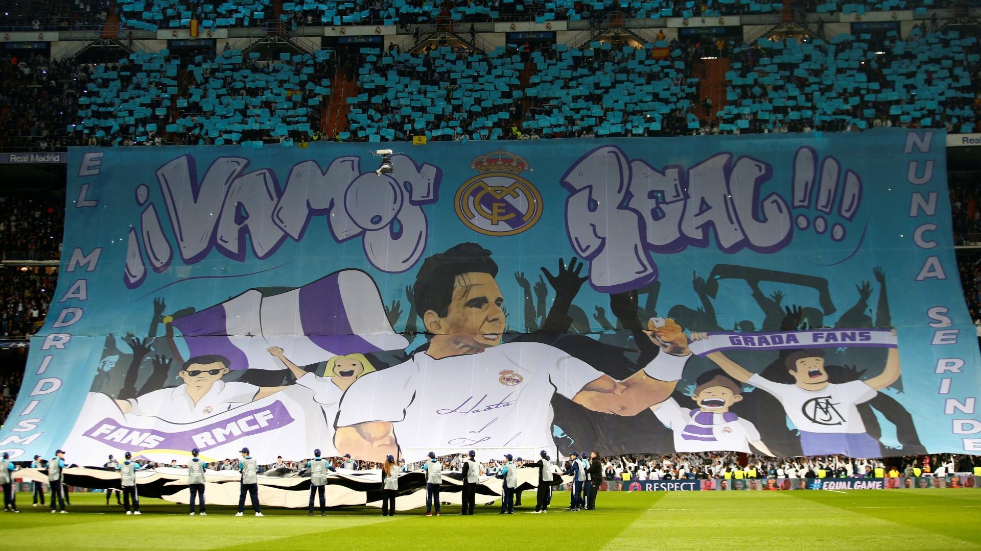 Torcida do Real Madrid exibe bandeirão em homenagem a Rafael Nadal