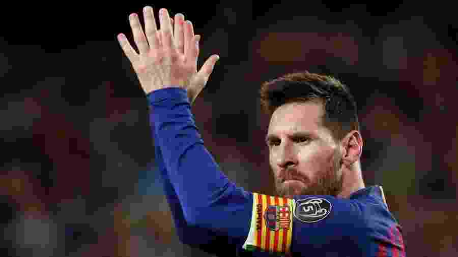 Lionel Messi comemora após marcar pelo Barcelona contra o Liverpool - Susana Vera/Reuters