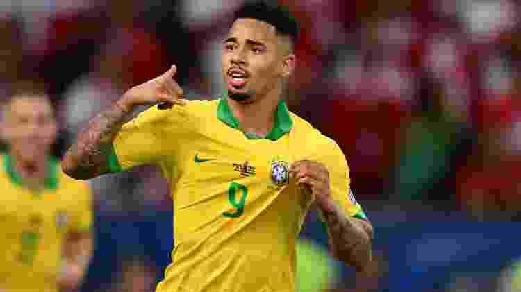 Gabriel Jesus comemora o gol anotado na final da Copa América - Pedro Vilela/Getty Images