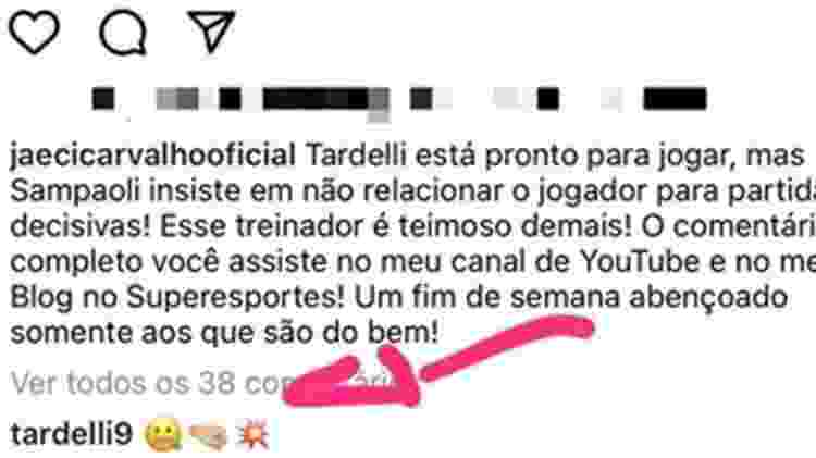 Diego Tardelli causou alvoroço com resposta em publicação de jornalista - Reprodução - Reprodução