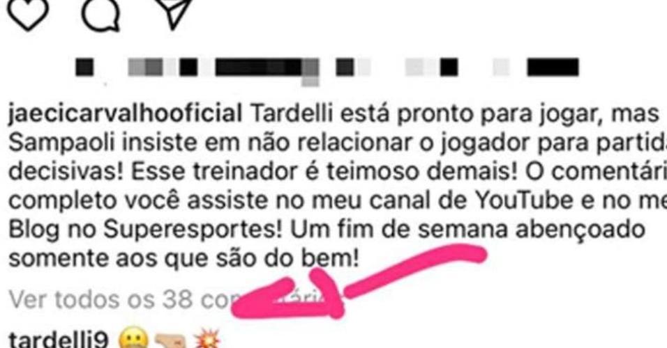 Diego Tardelli causou muita repercussão com comentário feito em publicação de jornalista