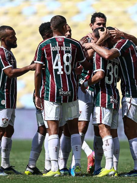 Jogadores do Fluminense comemoram gol sobre o Madureira, na última rodada da primeira fase do Carioca - Lucas Merçon / Fluminense F.C.