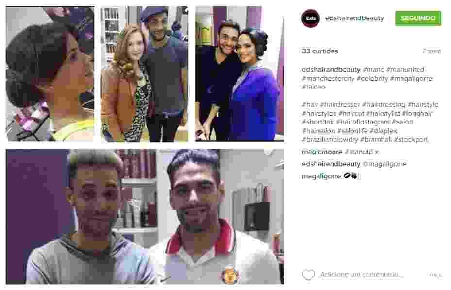 Edmar Mascarenhas, cabeleireiro brasileiro, publica foto com Falcao Garcia, seu cliente - Reprodução/Instagram