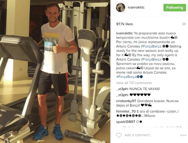 Rakitic usou Instagram para desmentir boatos sobre sua saída do Barcelona