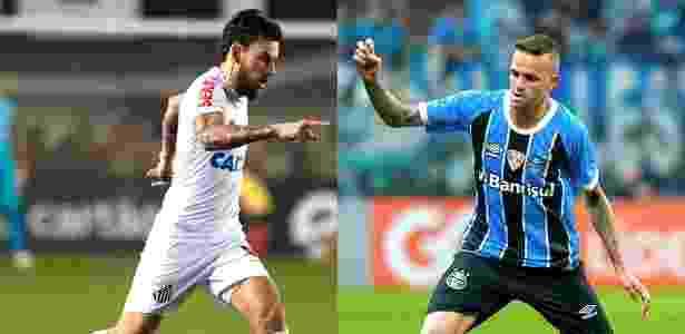 Lucas Lima e Luan devem deixar o Brasil agora ou no final desta temporada - Fotomontagem:  Ivan Storti/Santos FC e Lucas Uebel/Grêmio FBPA