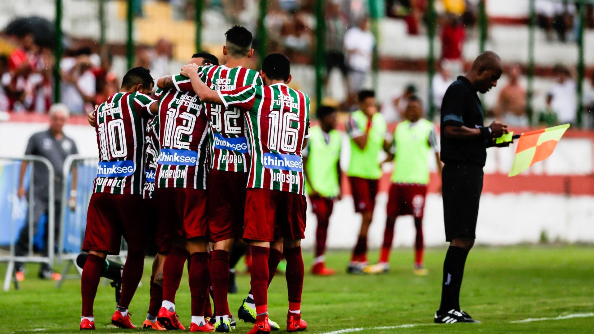 Jogadores do Fluminense comemoram gol diante do Bangu em jogo pela Taça Rio (segundo turno do Carioca) de 2018